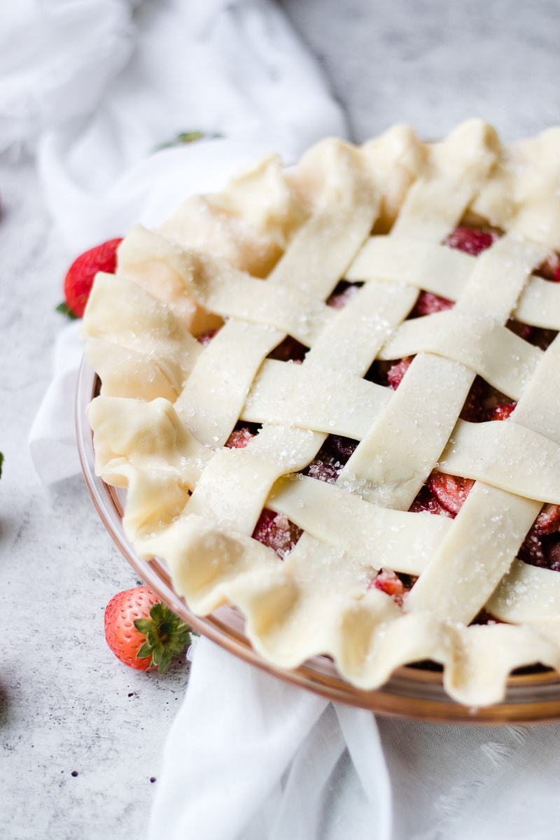 close up of Tart Strawberry Rhubarb Pie