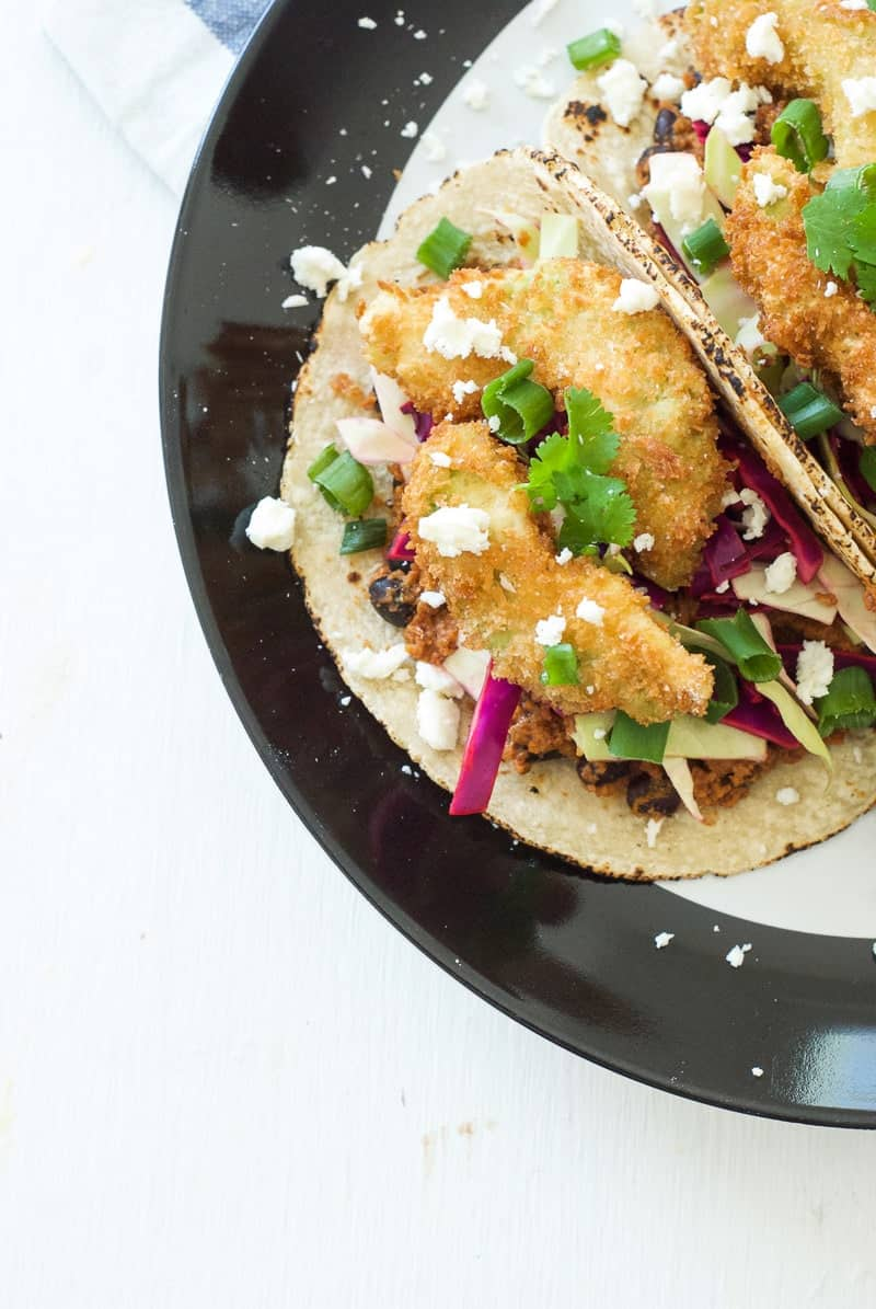 Chorizo and Fried Avocado Tacos