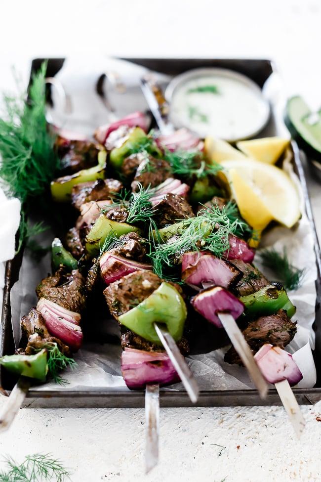 Lamb Kabobs on a baking tray.