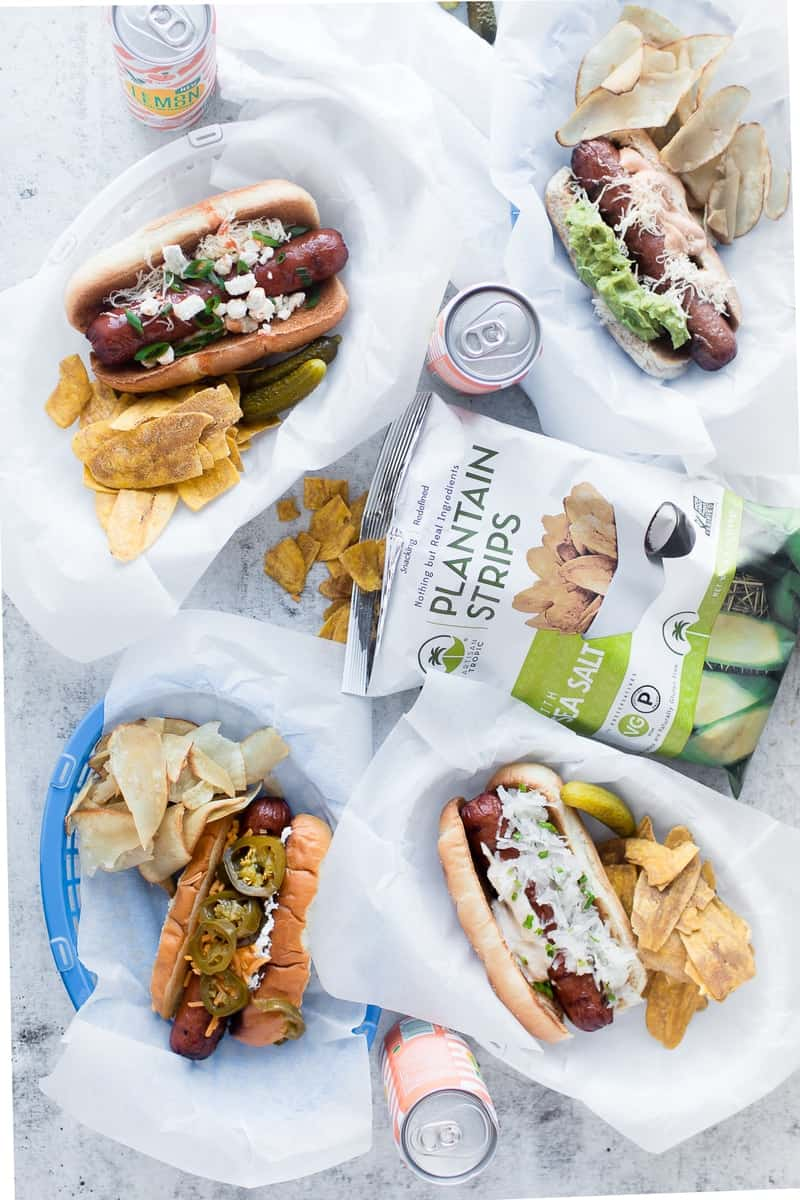 Gourmet Hot Dogs – Four Ways overhead shot with plantain strips