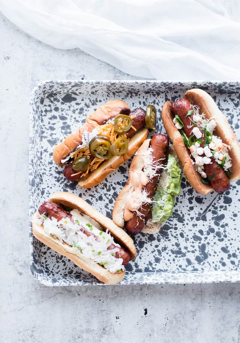Gourmet Hot Dogs – Four Ways on platter