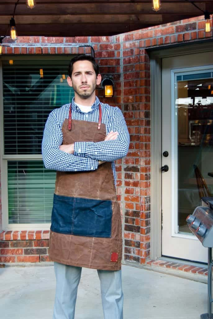 man wearing Sturdy Brothers brand apron