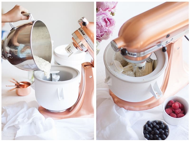 Vanilla Berry Chia Seed Ice Cream being mixed in a kitchen aid ice cream machine