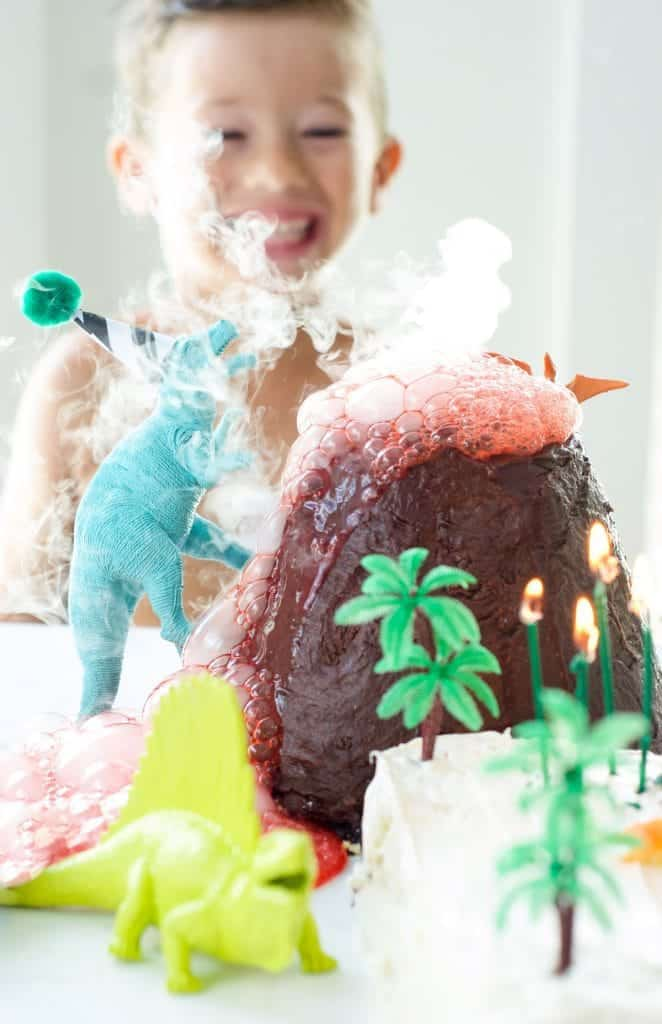 Dinosaur Cake with Exploding Volcano | fun cake recipes | dinosaur themed cakes | fun cakes for boys | birthday cakes for boys | interactive cake recipes | fun cake recipe ideas | how to make a volcano cake | how to make a dinosaur themed cake || Oh So Delicioso