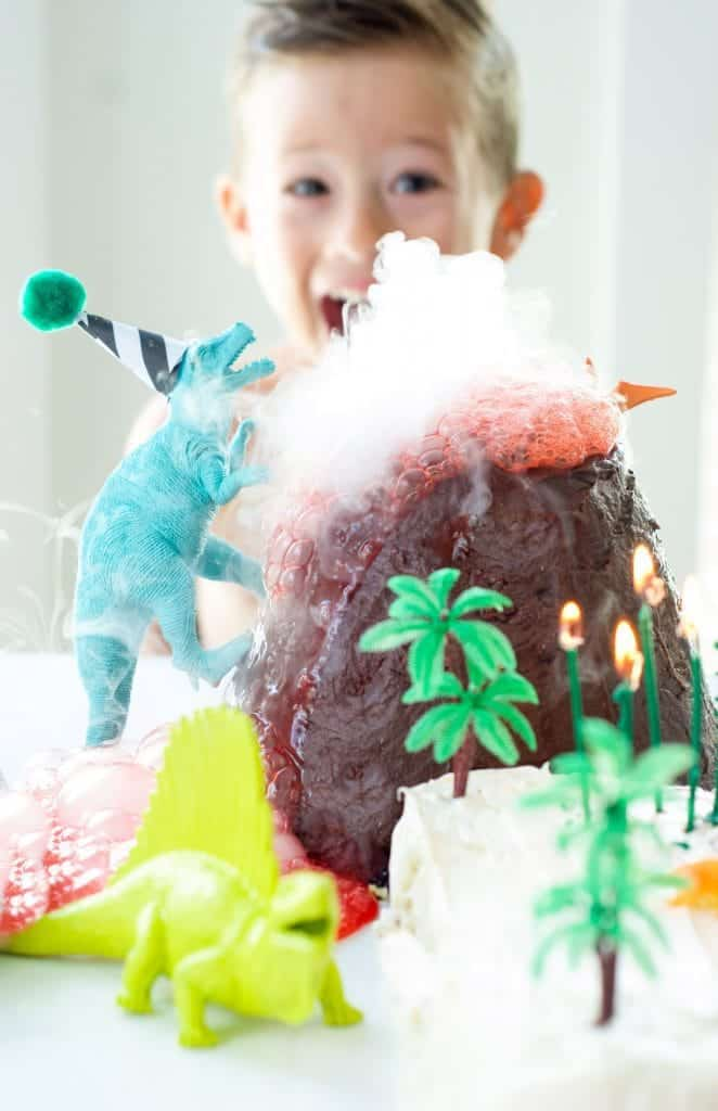 Dinosaur Cake With Exploding Volcano