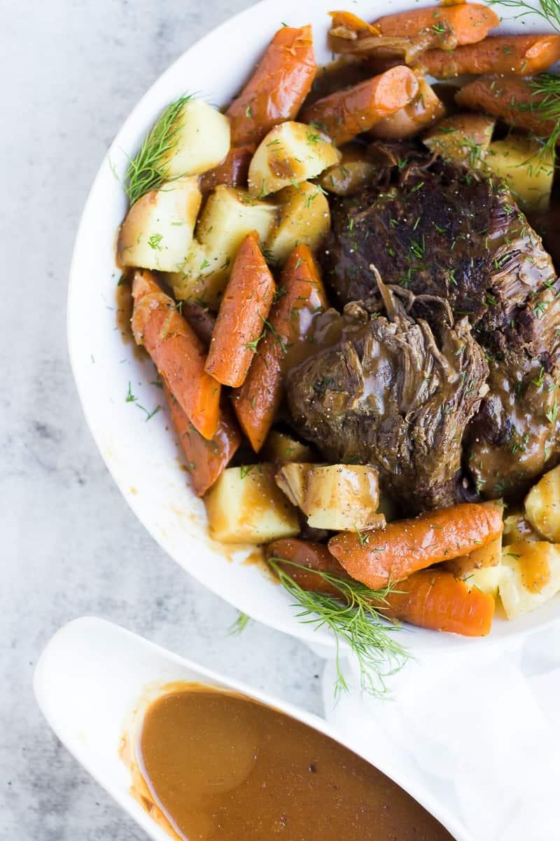 Pressure Cooker Frozen Roast Beef and Potatoes