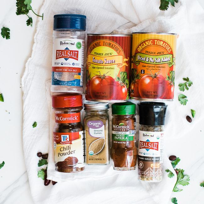 spices and canned tomato ingredients