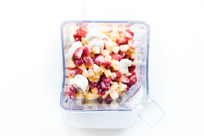 frozen tid bits of fruit in blender