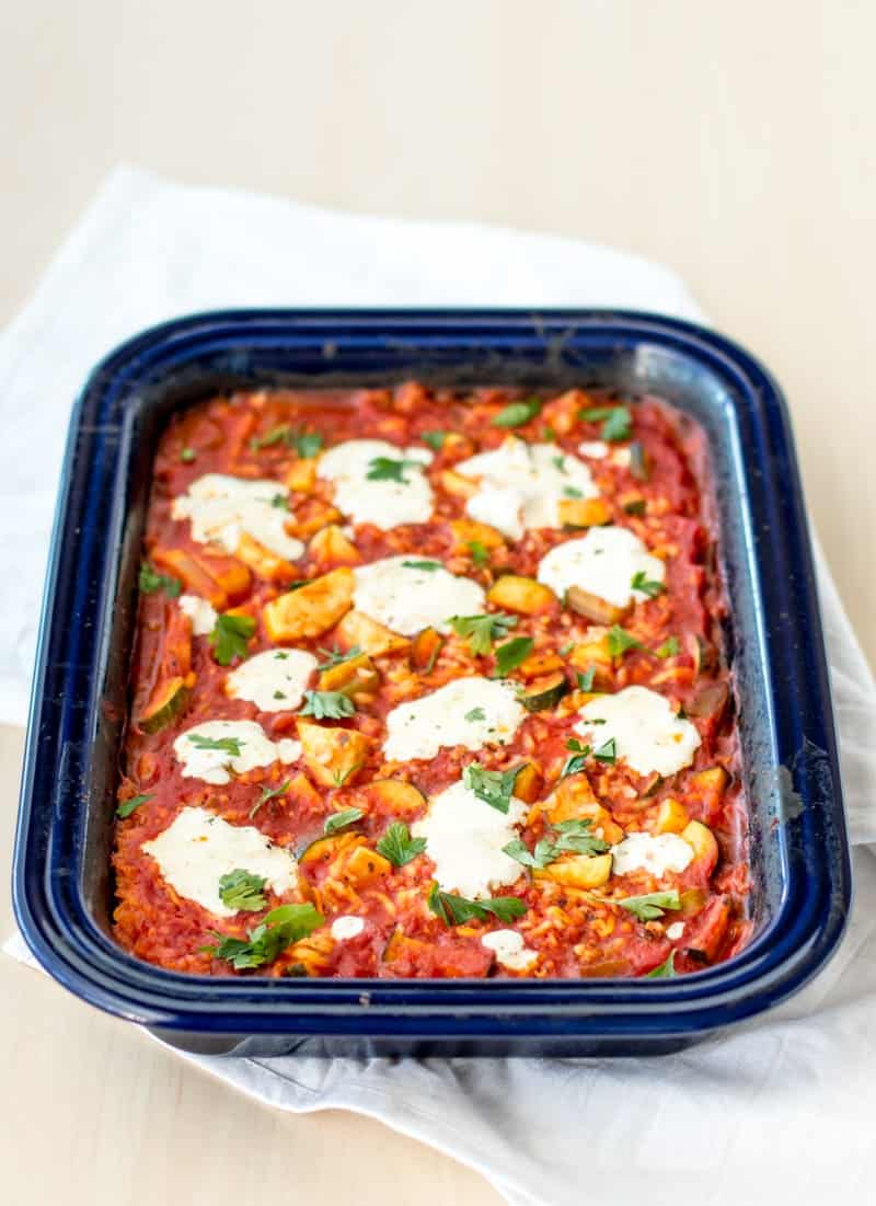 baked-tomato-risotto in baking dish