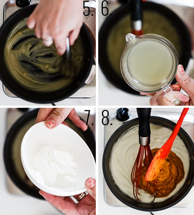 How to make a roux and add red pepper paste.