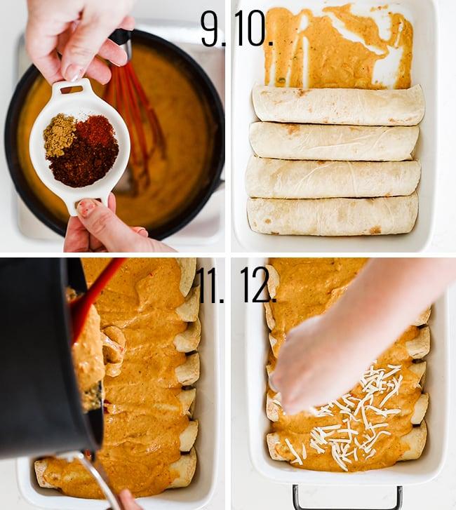 How to prepare enchilada sauce with sour cream.