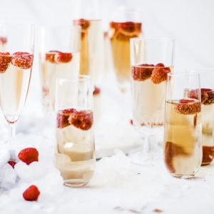 Mock Champagne In Glass Flutes.