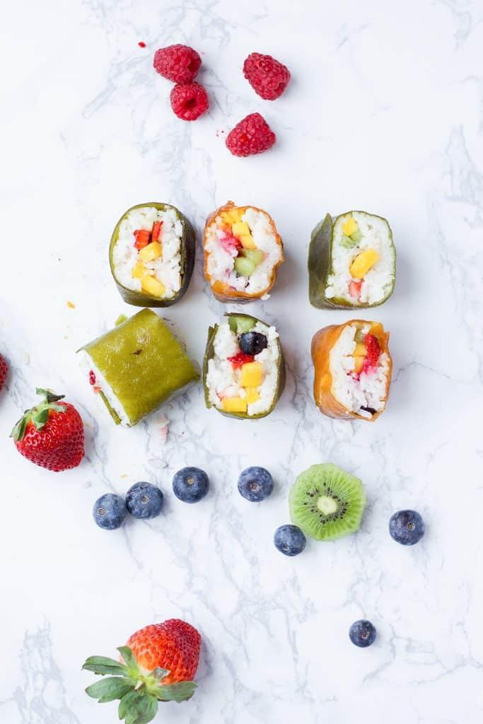 fruit sushi recipe overhead shot