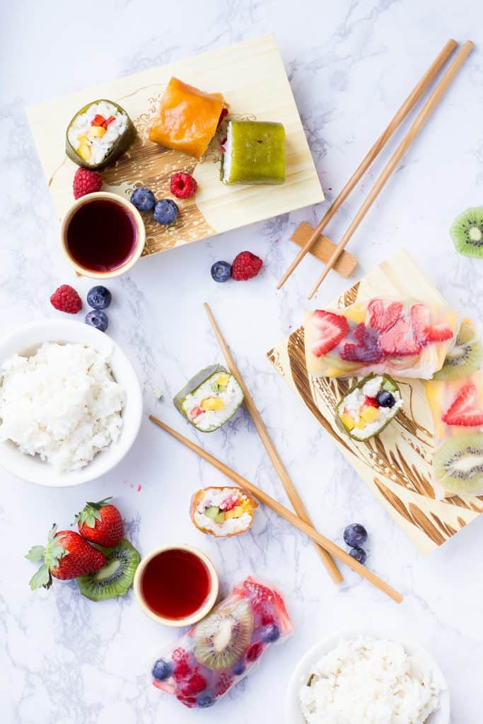 fruit sushi overhead shot; ingredients laid out and chopsticks