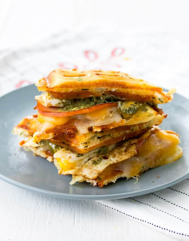 Green Eggs and Ham Waffle Sandwich