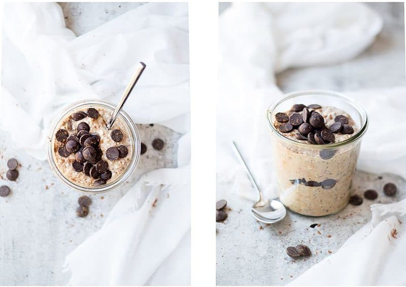 Overnight Oats in a glass jar with chocolate chips