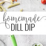 A collage image of a dill dip