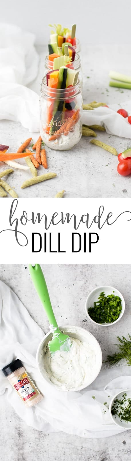 A collage image of a Homemade Dill Dip
