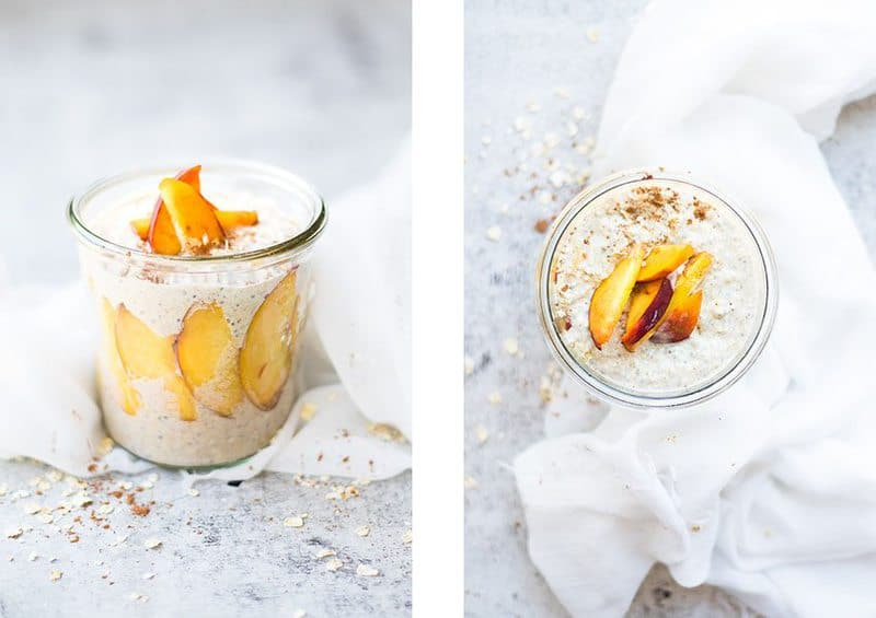 Overnight Oats in a glass jar topped with peaches