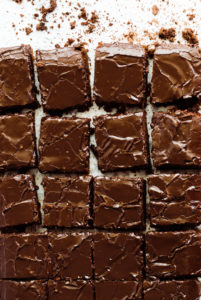squares of chocolate sheet cake
