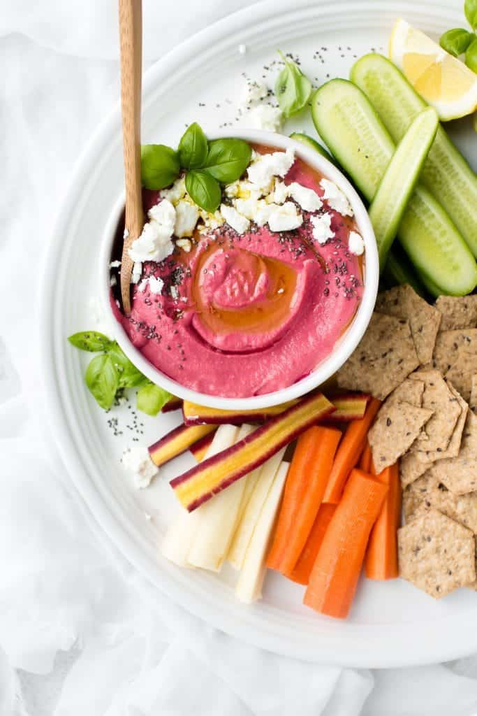 Pickled Beet Hummus With Goat Cheese