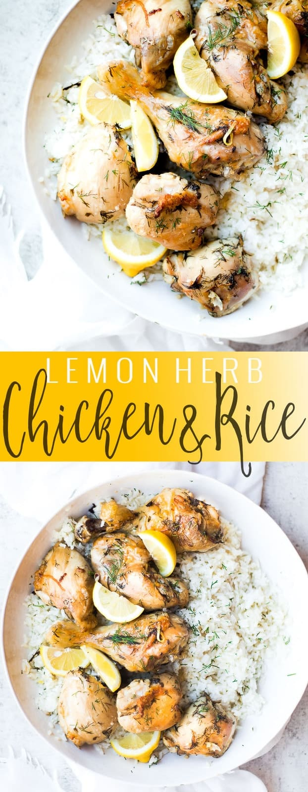 lemon herb chicken and rice pinterest image