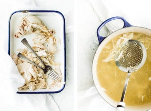 one picture of shredding chicken and one picture of straining broth