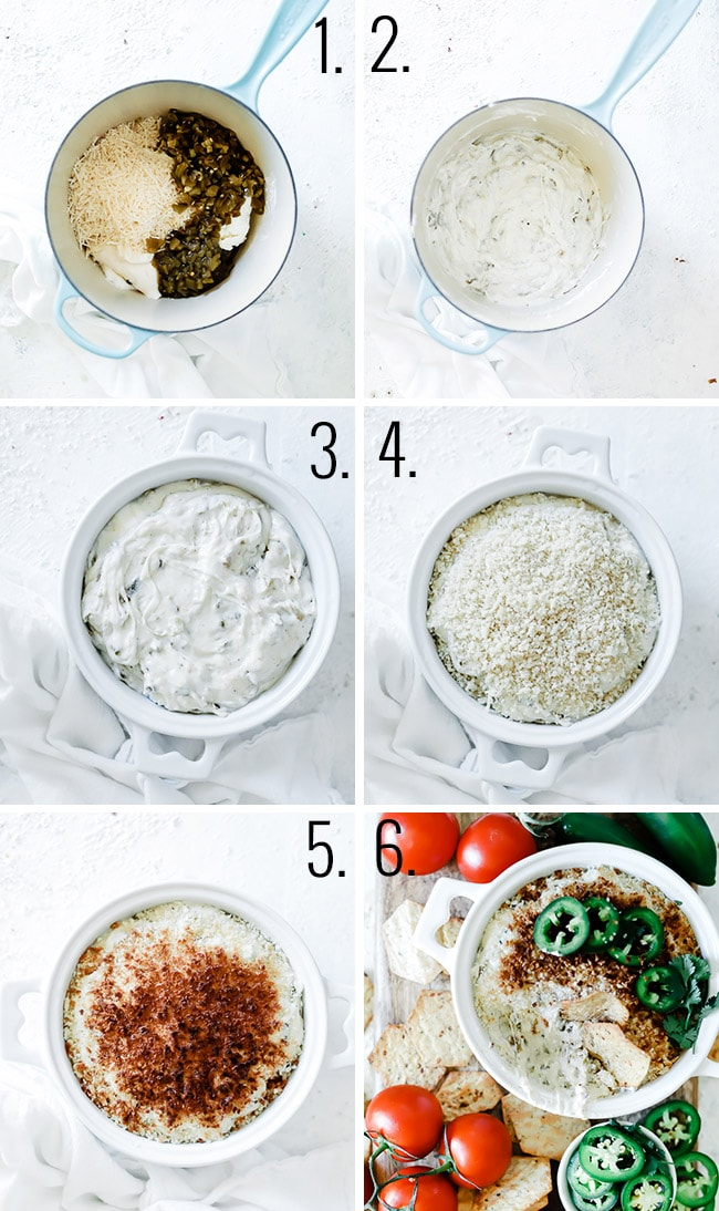 Step by step photos of how to make jalepeno popper dip.