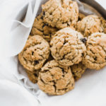 oatmeal raisin cookies in a circle tin