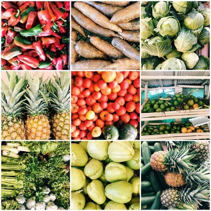 A collage image of different fruit and vegetables
