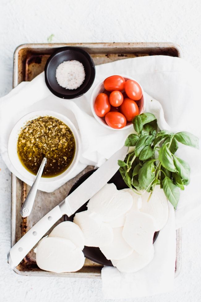 ingredients for hot caprese cheese dip
