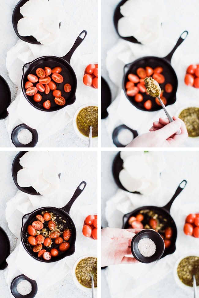 steps to of tomatoes and pesto in cast iron skillet
