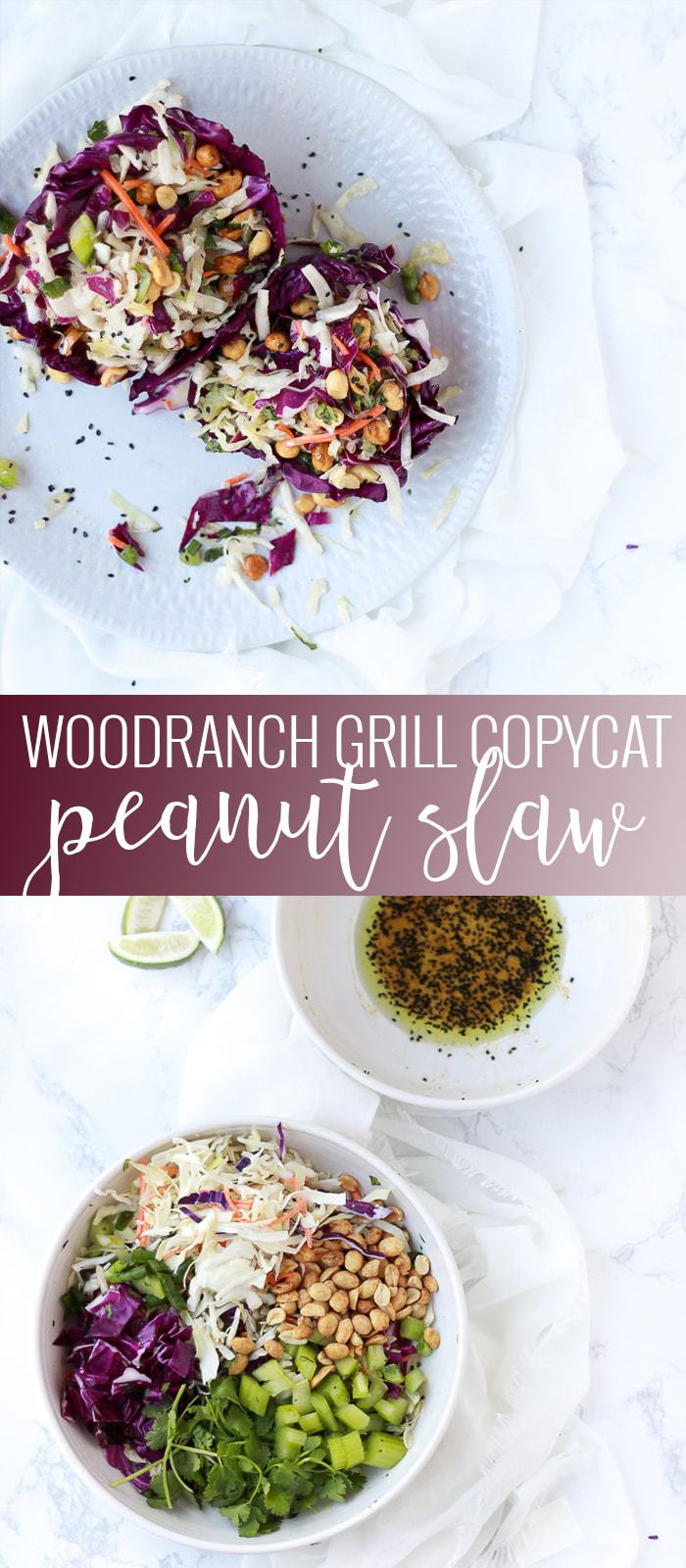 Copycat Peanut Slaw | peanut slaw recipe | homemade coleslaw recipe | easy slaw recipes | WoodRanch Grill peanut slaw recipe | asian peanut slaw || Oh So Delicioso #peanutslaw #asianslaw #copycatrecipe