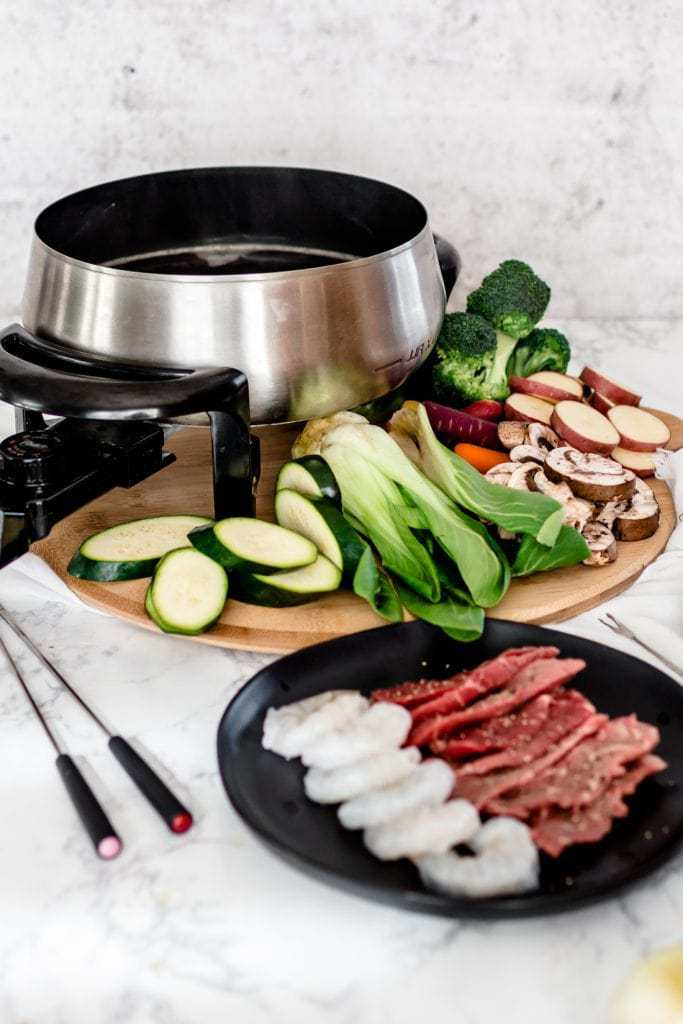 Broth Fondue with meat and vegetable dippers
