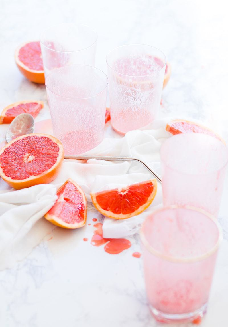 empty Strawberry Grapefruit Smoothie glasses