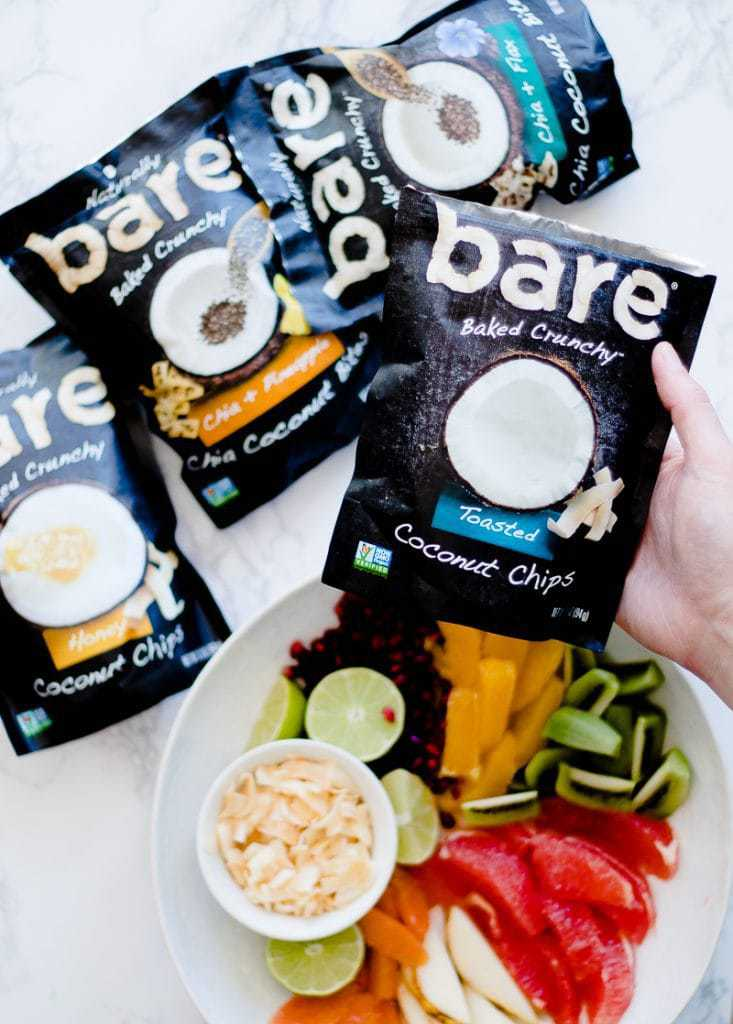 bare snacks with tropical fruit salad