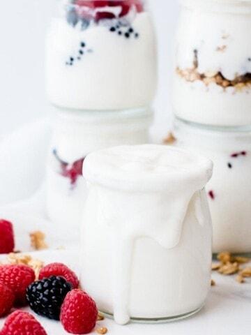 Instant Pot Cold Start Yogurt in a mason jar