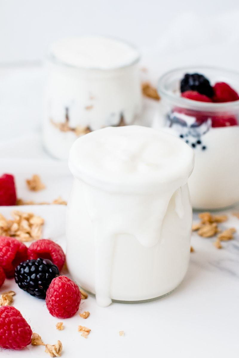 Instant Pot Cold Start Yogurt in mason jars with fresh fruit and granola