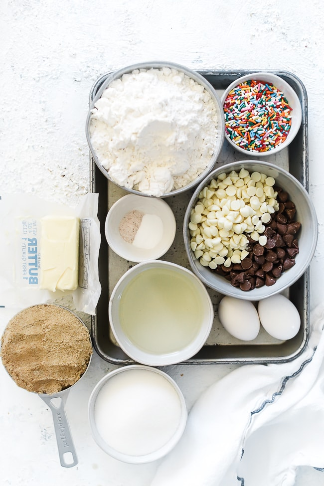 Ingredients needed for birthday cake cookies.