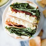 egg salad sandwich with lettuce and bacon