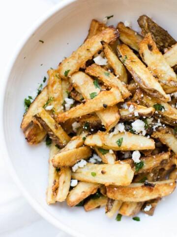 Garlic Parmesan Fries in a white bowl