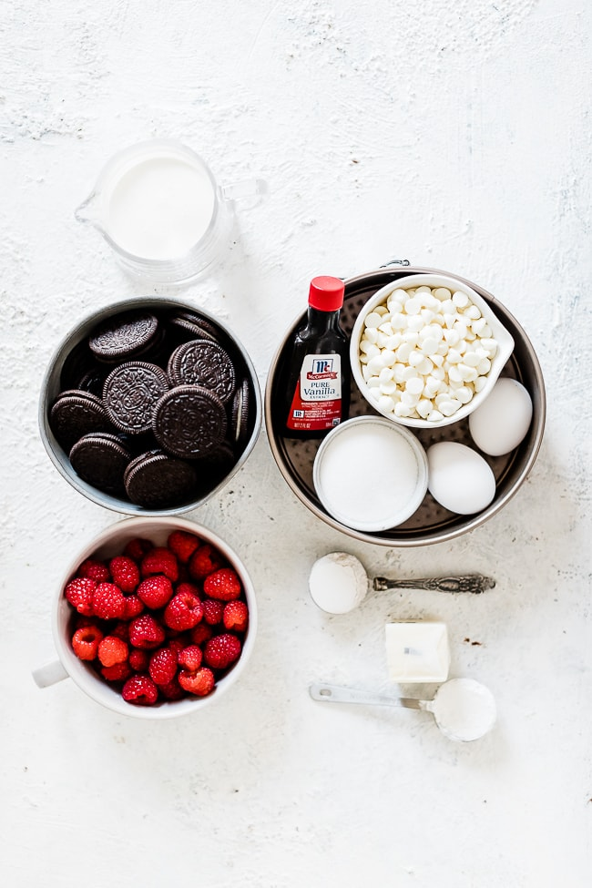 Ingredients for raspberry cheesecake recipe.