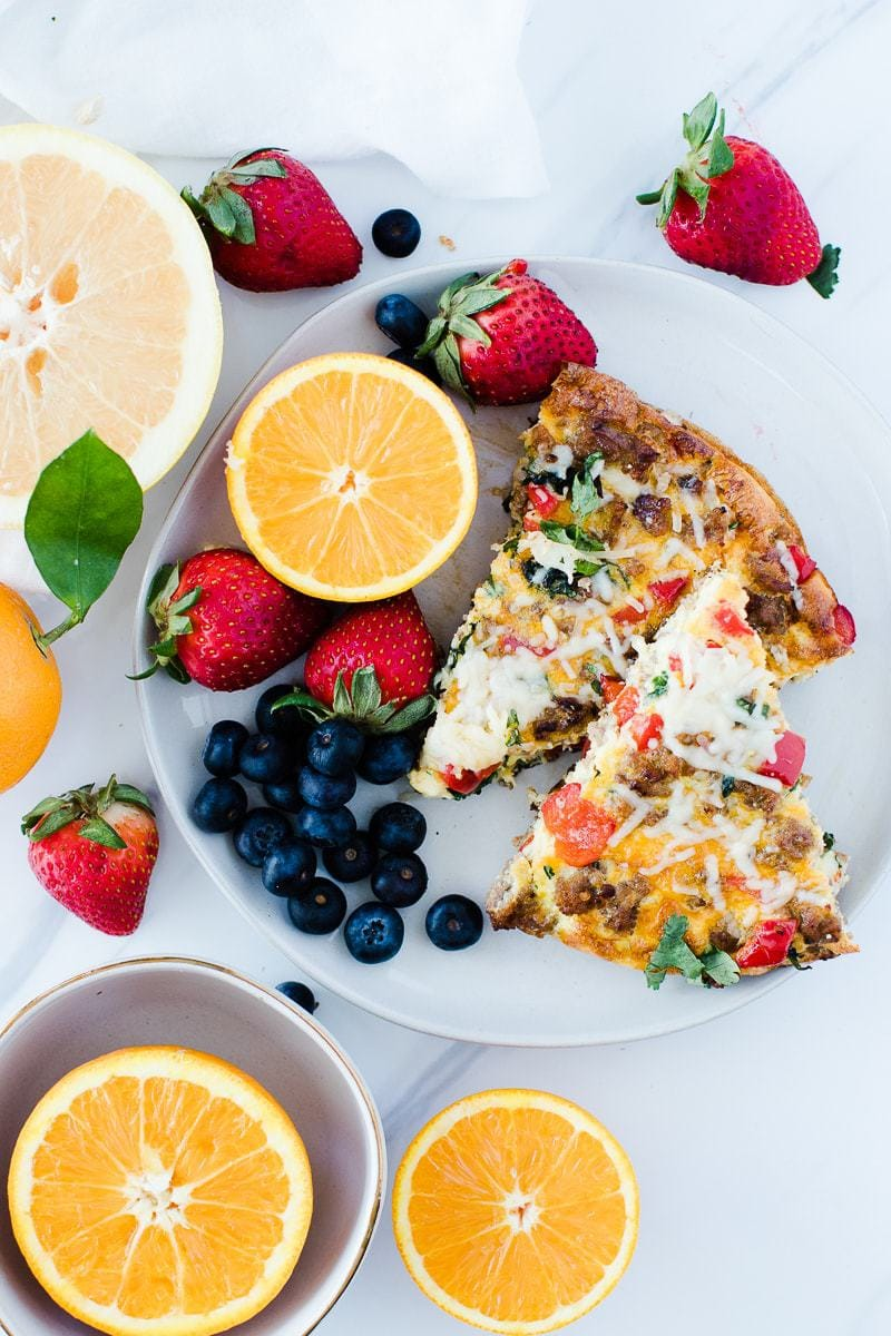 Sausage & Parmesan Quick Frittata with fresh fruit
