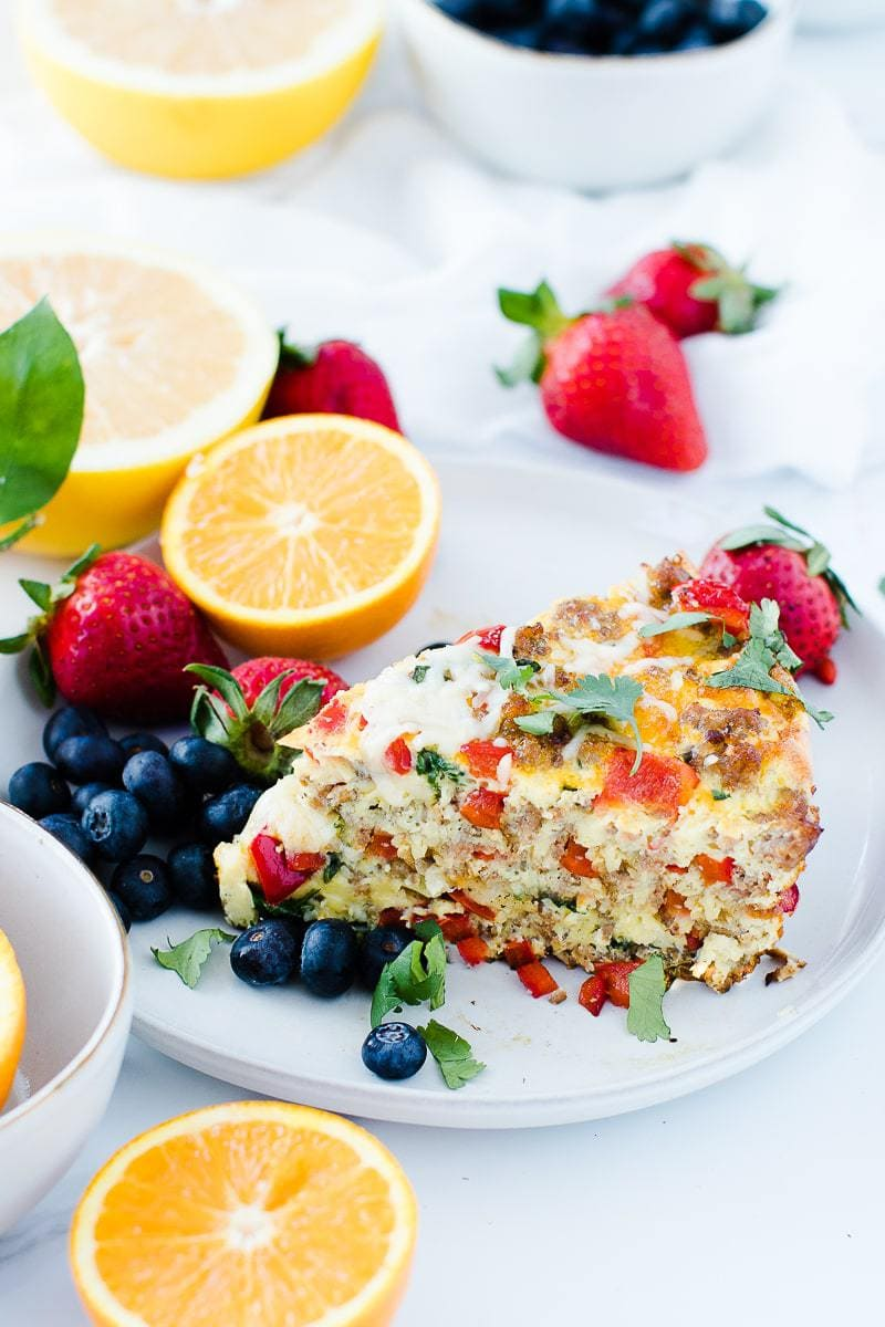 Sausage & Parmesan Quick Frittata with fruits