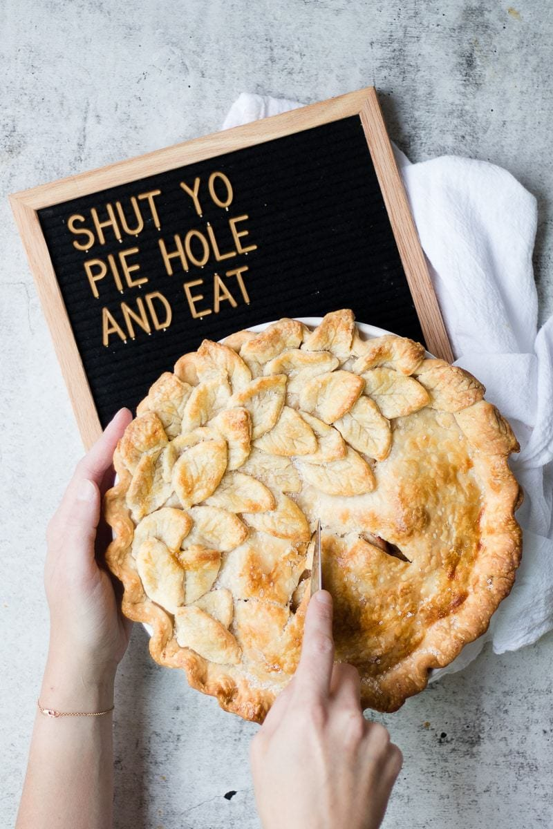 hot apple pie with a letter board