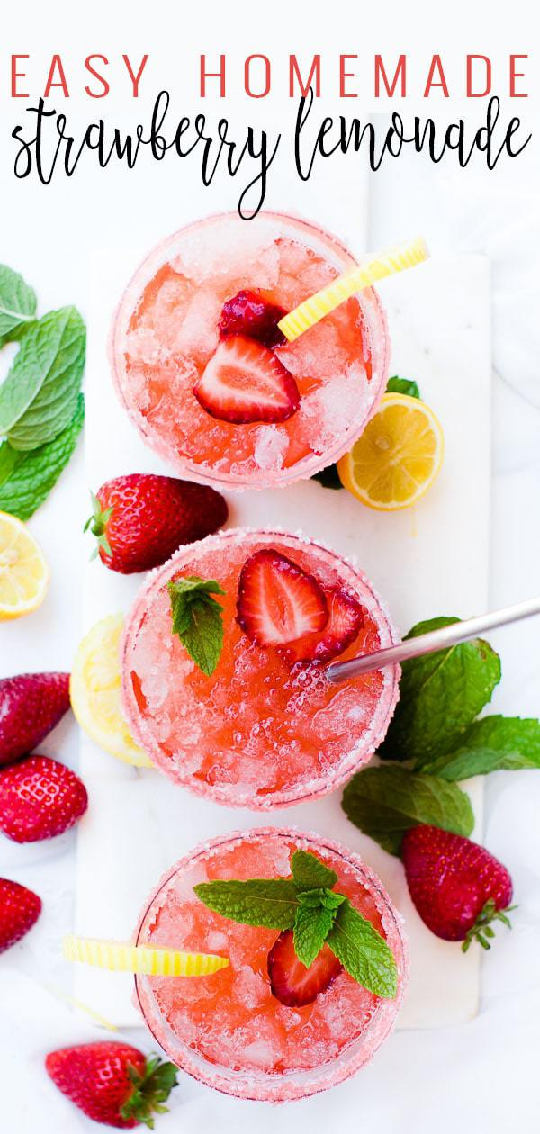 A collage image of easy homemade strawberry lemonade