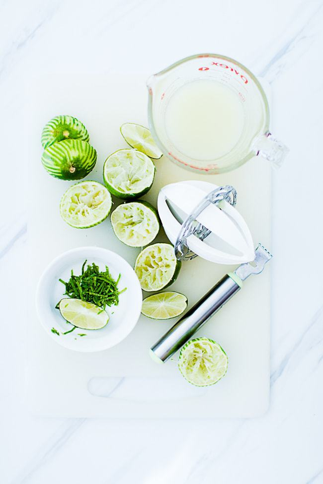 juiced limes, and lime zest