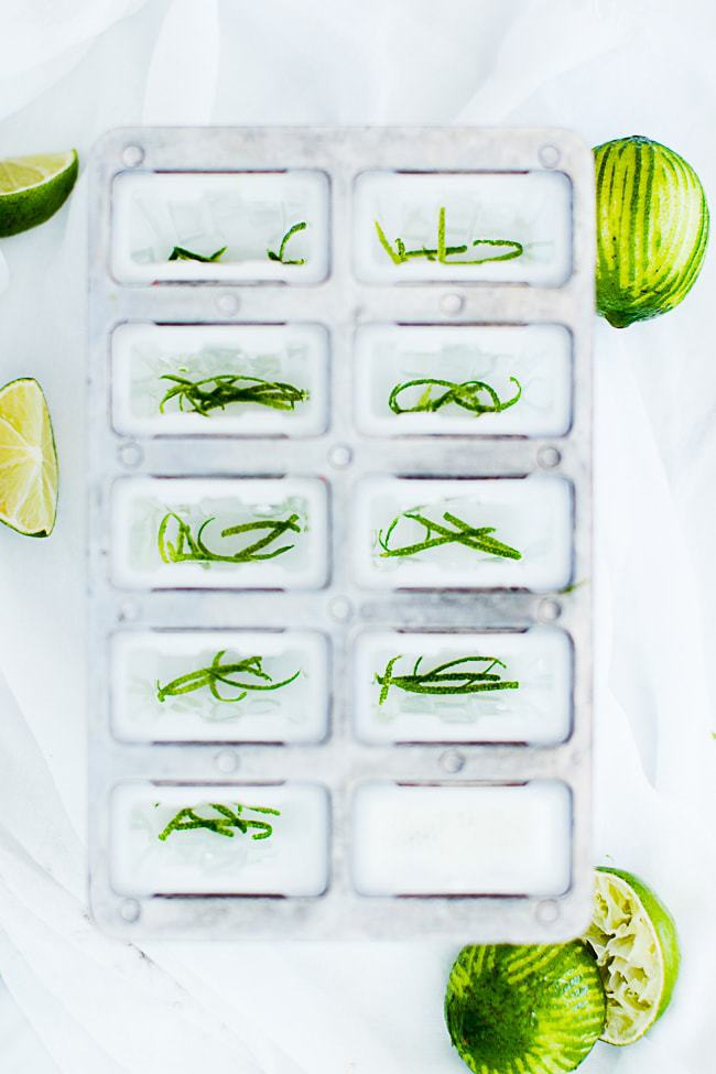 lime zest in popsicle mold