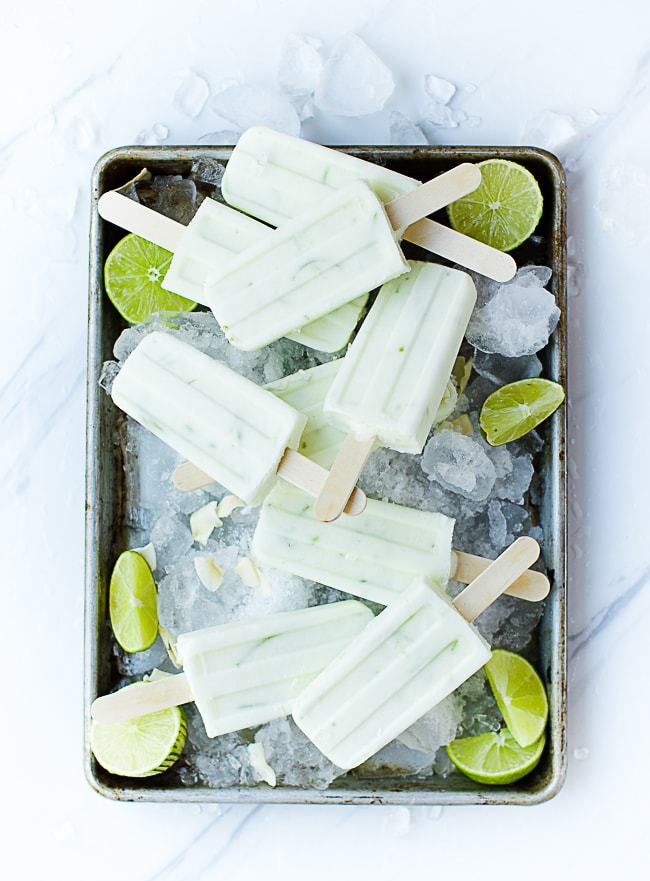 coconut lime popsicles on ice