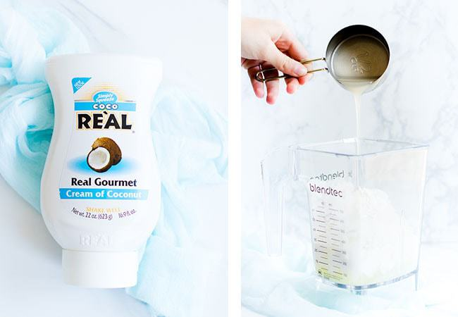 cream of coconut bottle and being poured into blender